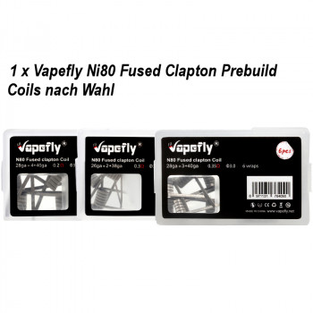 Ni80 Fused Clapton Prebuilt Coil 6 Stück by Vapefly